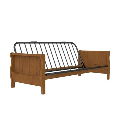 Full Brayden Wood Arm Futon Frame Walnut - Room & Joy