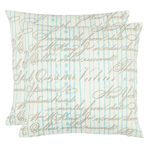 Periwinkle Blue Script Throw Pillow 2 Pack - Safavieh® - image 1 of 2