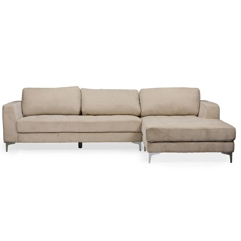 Agnew Contemporary Microfiber Right Facing Sectional Sofa Beige ...