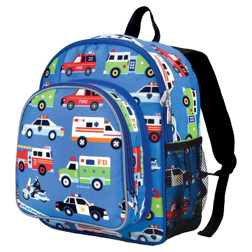 """Image of """"Wildkin 12"""""""" Olive Heroes Pack n Snack Kids' Backpack - Blue Heroes"""""""