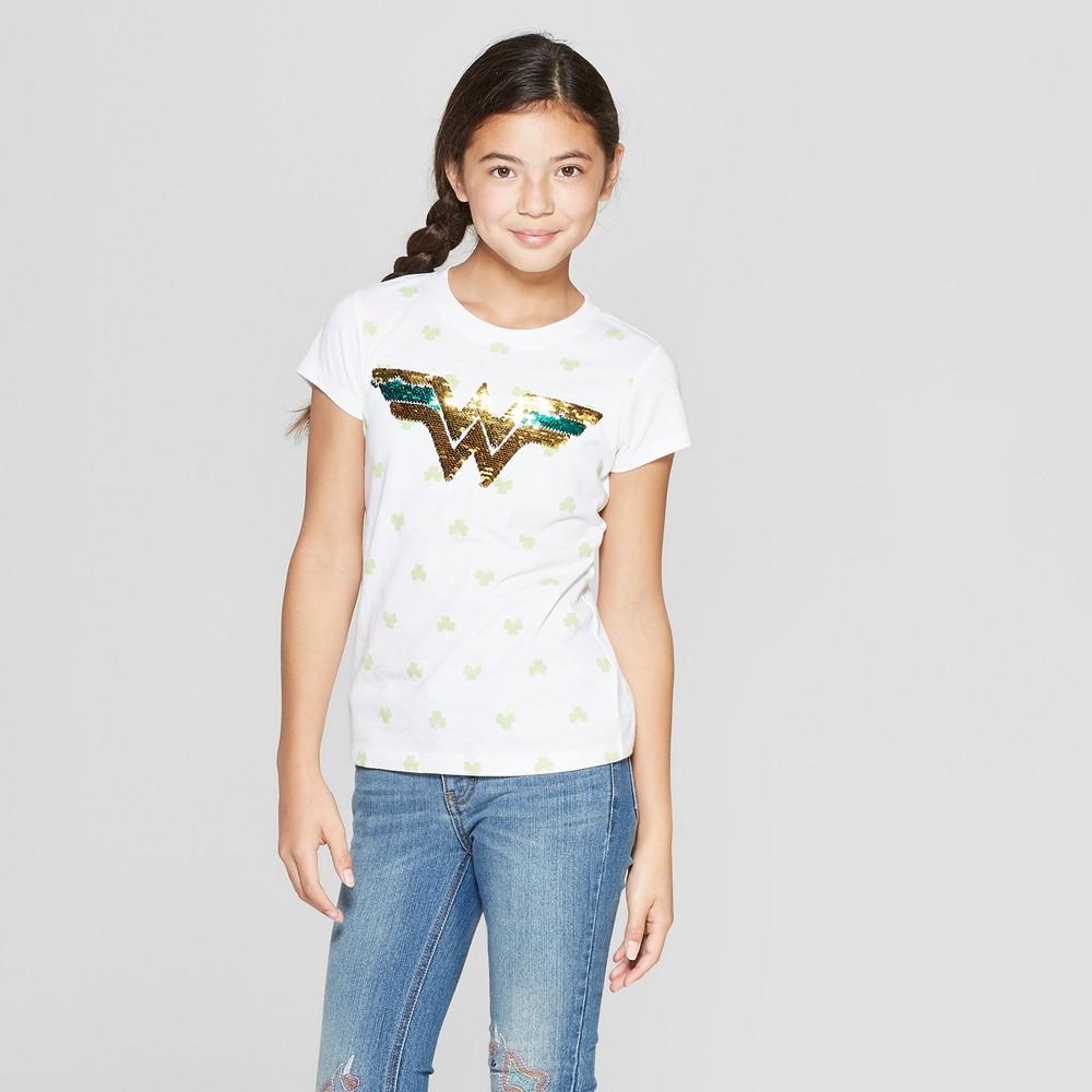 Girls' Wonder Woman Flip Sequin St. Patrick's Day Short Sleeve T-Shirt - White S