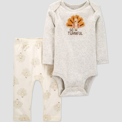Baby Organic Cotton Thanksgiving Pants and Bodysuit Set - little planet organic by carter's Gray 3M