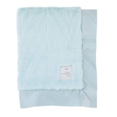 NoJo Cuddle Me Plush Chevron Blanket with Matte Satin Border - Aqua