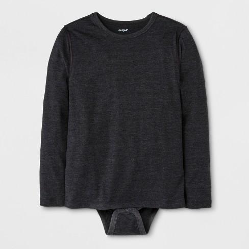 Boys' Adaptive Long Sleeve Bodysuit - Cat & Jack™ Black - image 1 of 1