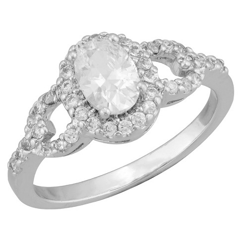 Women's Silver Plated Cubic Zirconia Oval Open Halo Ring (8) - image 1 of 1