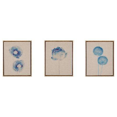 Botanicals Framed 3pc Printed Canvas On Linen - Blue - image 1 of 4
