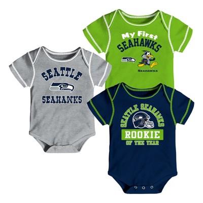 Seattle Seahawks Boys' Newest Fan 3pk Bodysuit Set 3-6 M
