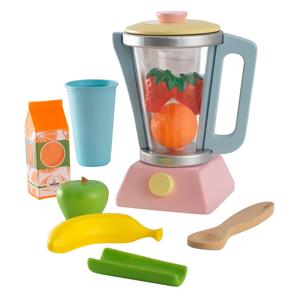KidKraft Pastel Smoothie Set It's never too early to learn about nutrition. The KidKraft Pastel Smoothie Set comes with everything kids need to create their own imaginative smoothies. Lift the lid off the wood and plastic blender, add in some of the included pretend fruits, vegetables and juice, and get ready to blend up some fun. Gender: Unisex.