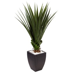 4.5' Spiked Agave Artificial Plant In Black Planter - Nearly Natural