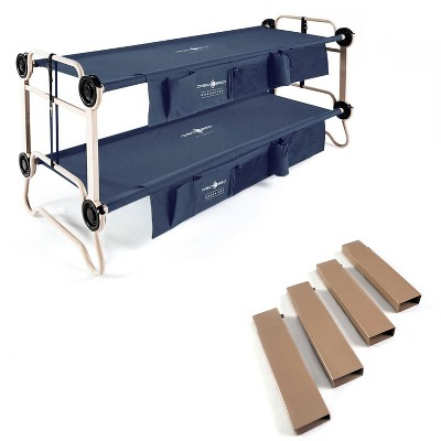 """Disc-O-Bed Large Cam-O-Bunk Bunked Double Cot + 7"""" Steel Leg Height Extensions"""