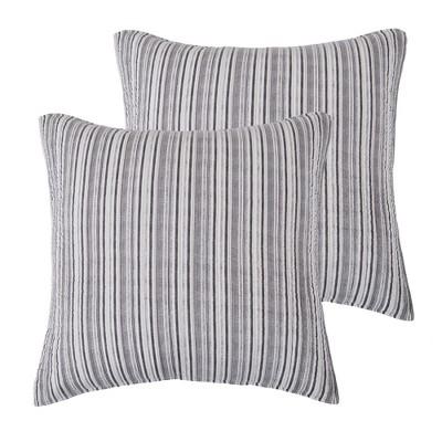 Avellino Grey Stripe Quilted Euro Sham - 2pk - Levtex Home