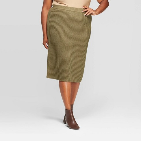 Women's Plus Size Midi Rib Sweater Skirt - A New Day™ Olive Heather - image 1 of 3
