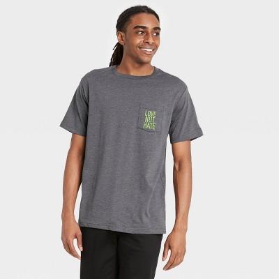 Men's 'Love Not Hate' Short Sleeve Crewneck T-Shirt - Charcoal Heather