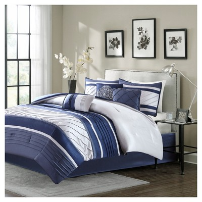 Navy Burnett Comforter Set Queen 7pc