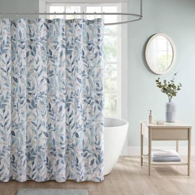 Leisha Botanical Printed Shower Curtain Blue