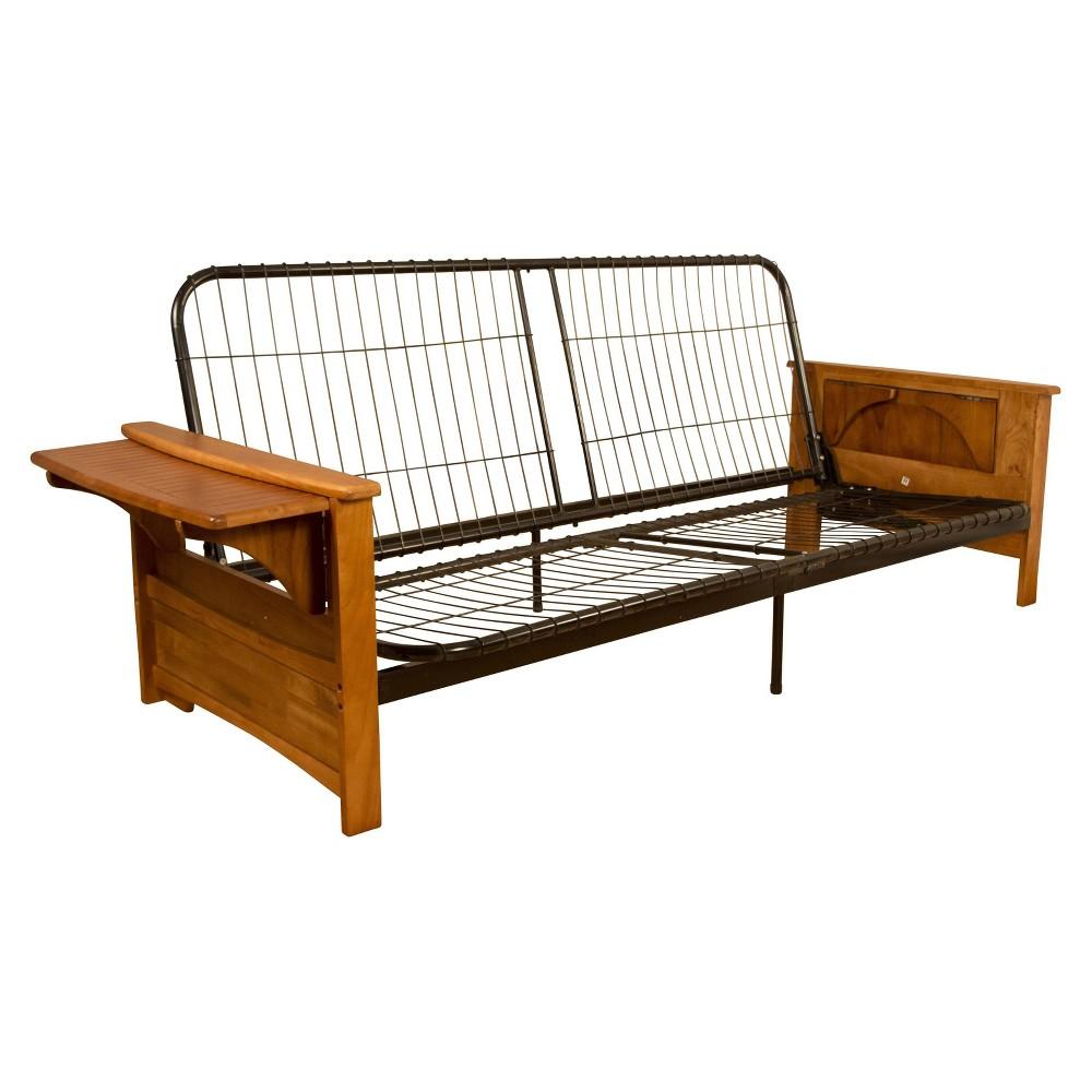 Brooklyn Futon Sofa Sleeper Bed Frame - Epic Furnishings, Pecan Finish Wood Arms