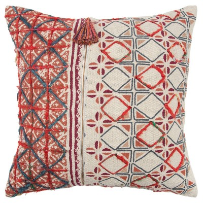 """20""""x20"""" Geometric Polyester Filled Pillow Red - Rizzy Home"""