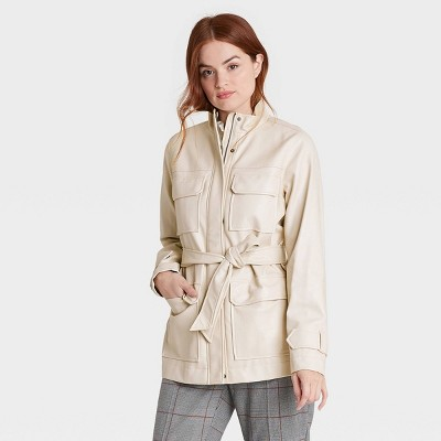 Women's Faux Leather Anorak Jacket - A New Day™ Stone