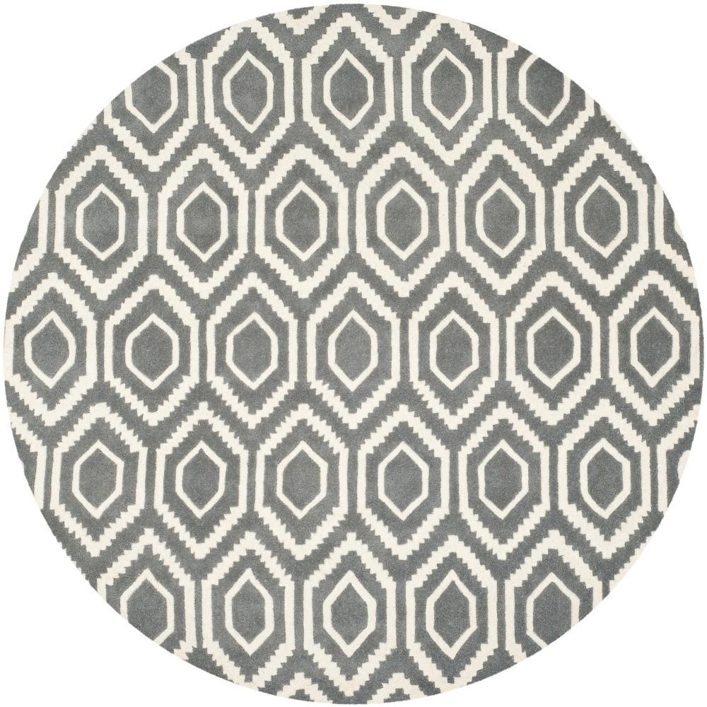 7 Geometric Tufted Round Area Rug Dark Gray Ivory Safavieh