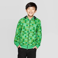 Boys' Minecraft Creeper Costume Fleece Sweatshirt - Green