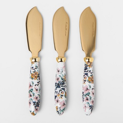 Stainless Steel Cheese Knife Set - Gold - 3pc - Threshold™