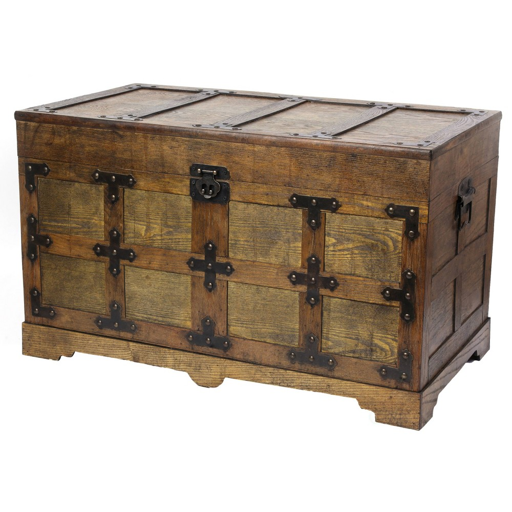Large Rustic Natural Streamer Trunk with Studded Detail Antique Wood - Vintiquewise