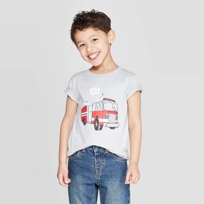 Toddler Boys' Jersey Fire Truck T-Shirt - Cat & Jack™ Light Gray 3T