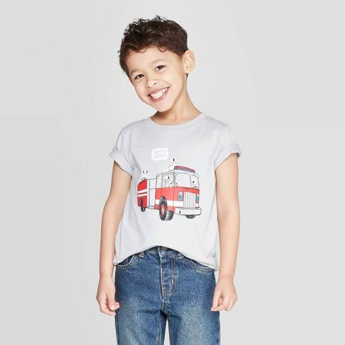 Toddler Boys' Jersey Fire Truck T-Shirt - Cat & Jack™ Light Gray - image 1 of 4