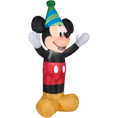 Gemmy Airblown Inflatable Birthday Party Mickey Mouse, 4 ft Tall, black