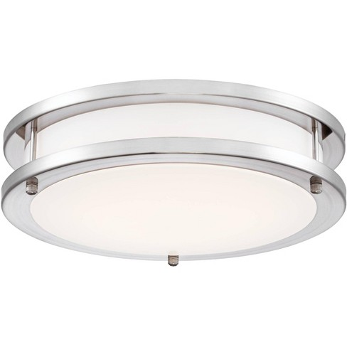 Possini Euro Design Modern Ceiling Light Flush Mount Fixture Led Satin Nickel 12 Wide Opal White Acrylic Diffuser Bedroom Kitchen Target