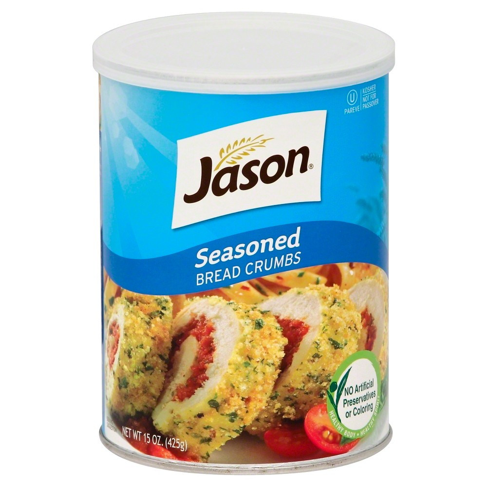 Jason Flavored Bread Crumbs 15 oz Not for Passover. Great recipes start with Jason Bread Crumbs, so start cooking! Directions Basic Breading Directions: 1. In a bowl, mix 1 egg with 1 tablespoon of water. 2. Pour some Jason Seasoned Bread Crumbs onto a shallow dish. 3. Dip food first into egg mixture and then into the bread crumbs, turning to coat evenly.