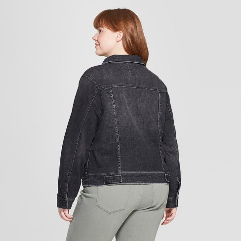 d6ecb394527 Women s Plus Size Freeborn Denim Jacket - Universal Thread™ Black ...