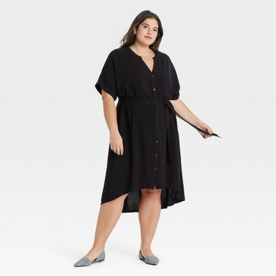 Women's Plus Size Short Sleeve Shirtdress - Ava & Viv™