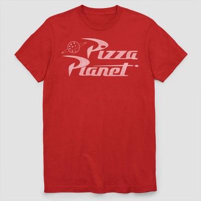 Men's Disney Pixar Toy Story 1 Pizza Planet Logo Short Sleeve Graphic T-Shirt - Red