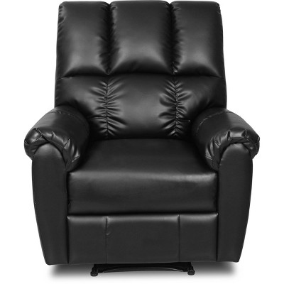 Langston Faux Leather Recliner Black - ClickDecor