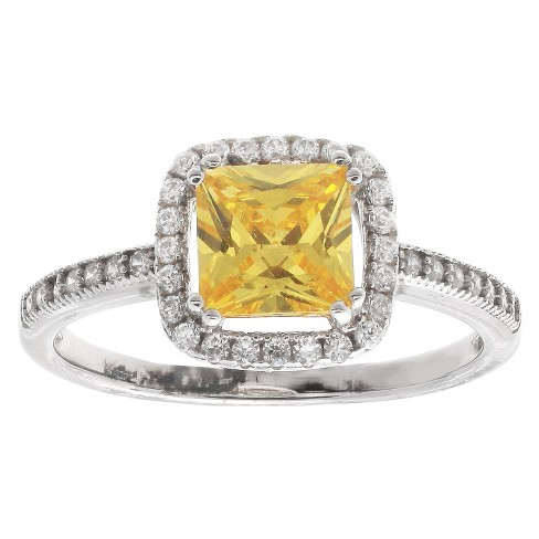 Women's Square Yellow Cubic Zirconia Ring - Yellow/Silver (Size 7) - image 1 of 1