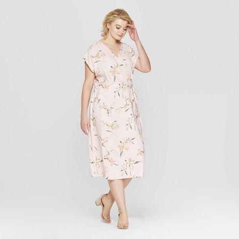 3b20287950002 Women's Plus Size Floral Print Short Sleeve Wrap Midi Dress - Ava & Viv™  Pink : Target