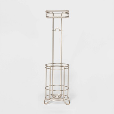Reserve With Wire Media Shelf Pearl Freestanding Toilet Tissue Holder Silver - Threshold™