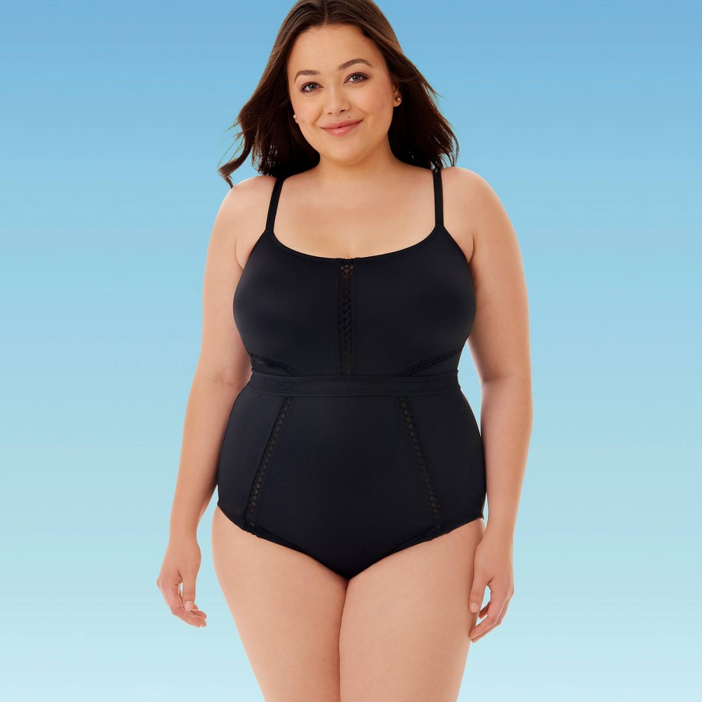 Image of Women's Plus Size Slimming Control Mesh Inset One Piece Swimsuit - Beach Betty By Miracle Brands Black 2X, Women's, Size: 2XL
