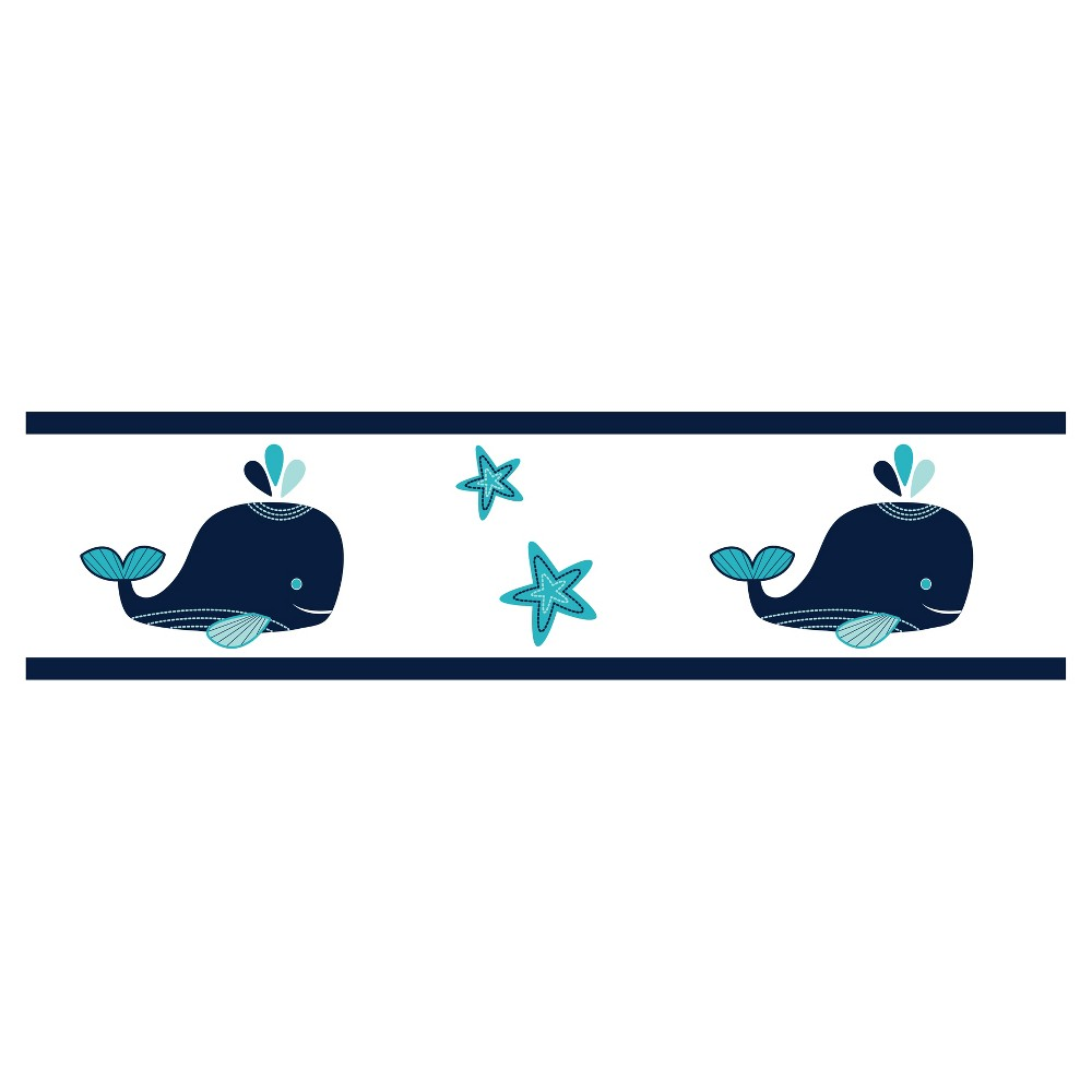 Image of White & Blue Whale Wall Border - Sweet Jojo Designs