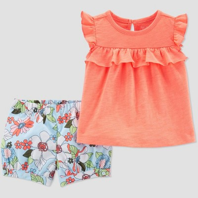 Baby Girls' 2pc Floral Top and Bottom Set - Just One You® made by carter's Peach/Blue 18M