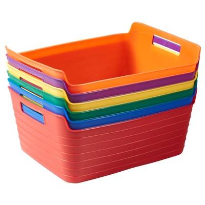 ECR4Kids Bendi-Bins with Handles, Flexible Plastic Storage, 14.6in x 11.4in, 6-Piece