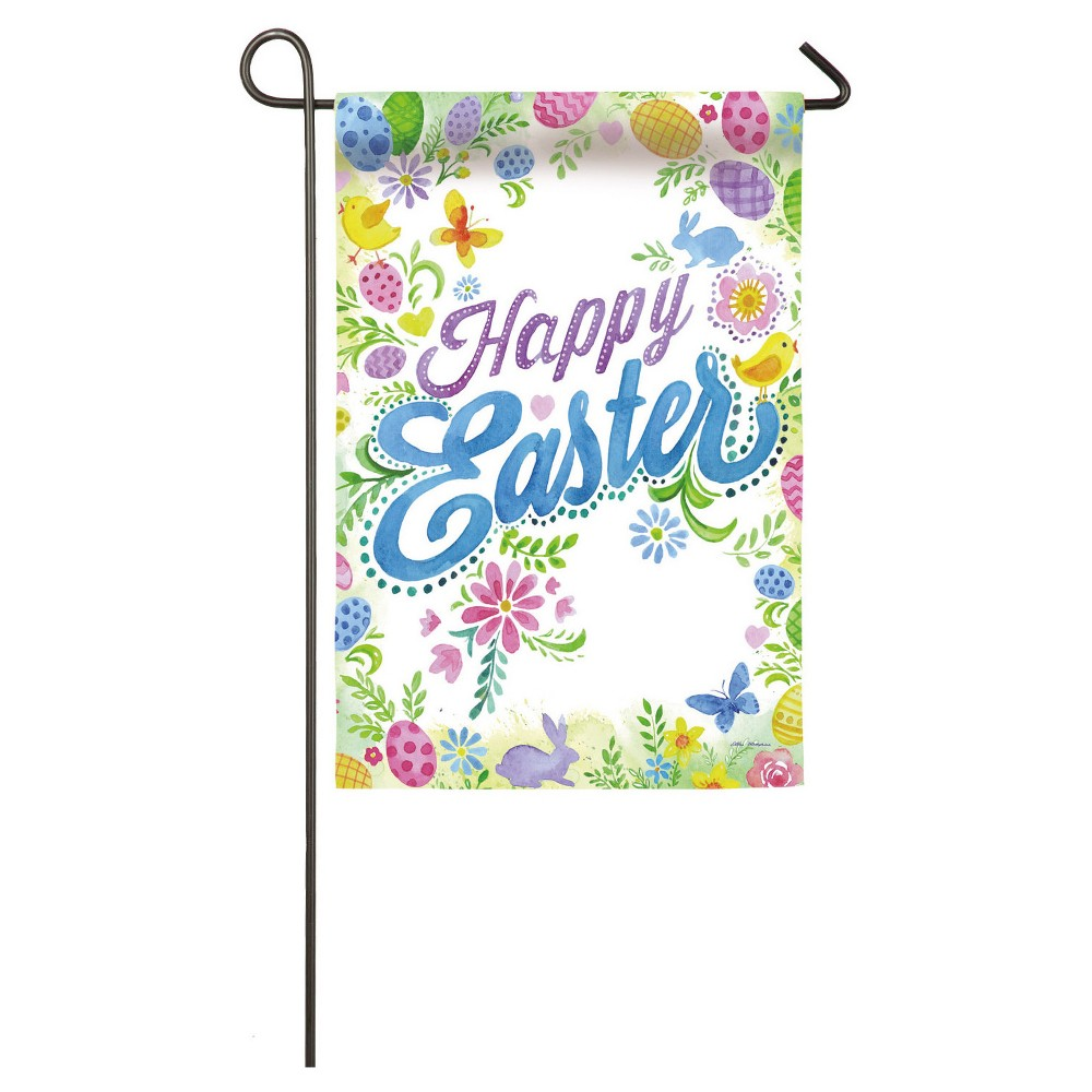 Happy Easter Garden Suede Flag, Multi-Colored