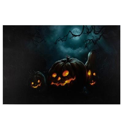 "Northlight 23.5"" LED Lighted Spooky Halloween Jack-O-Lanterns Canvas Wall Art"