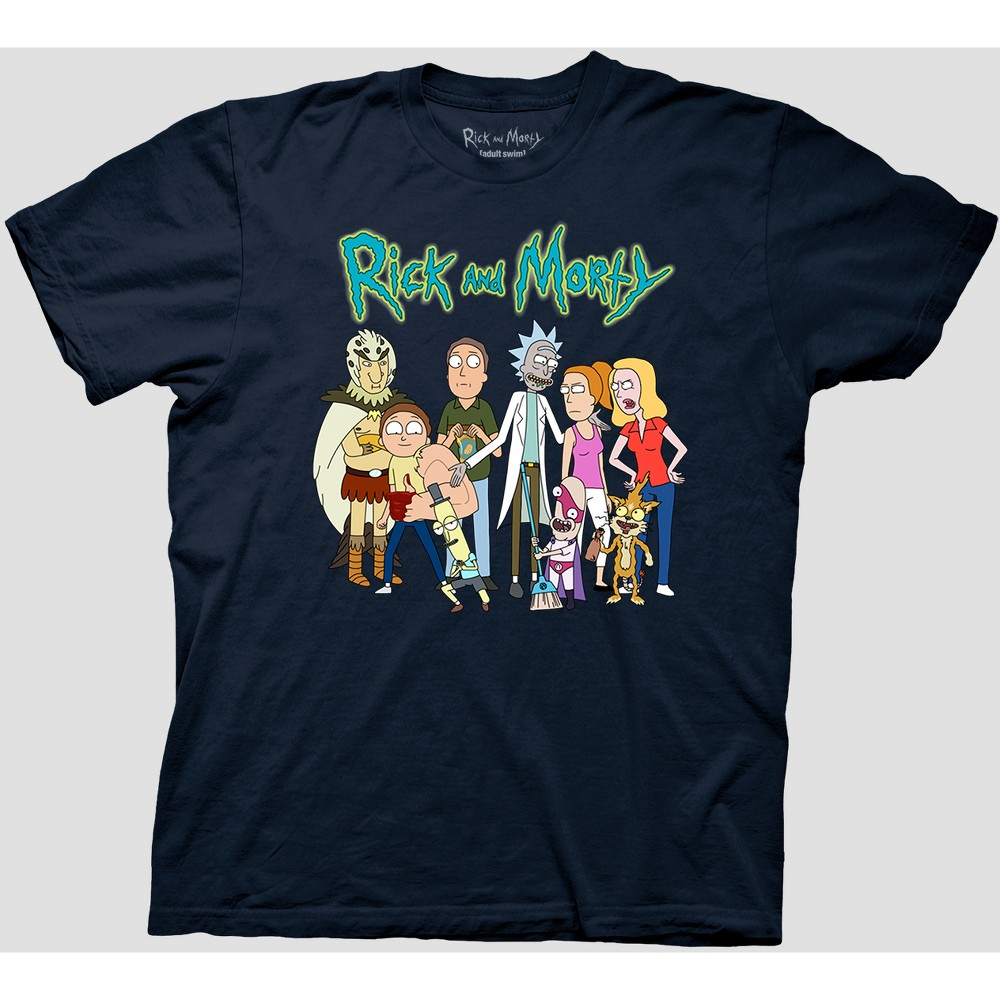 Image of Men's Rick and Morty Short Sleeve Graphic T-Shirt - Navy 2XL, Blue