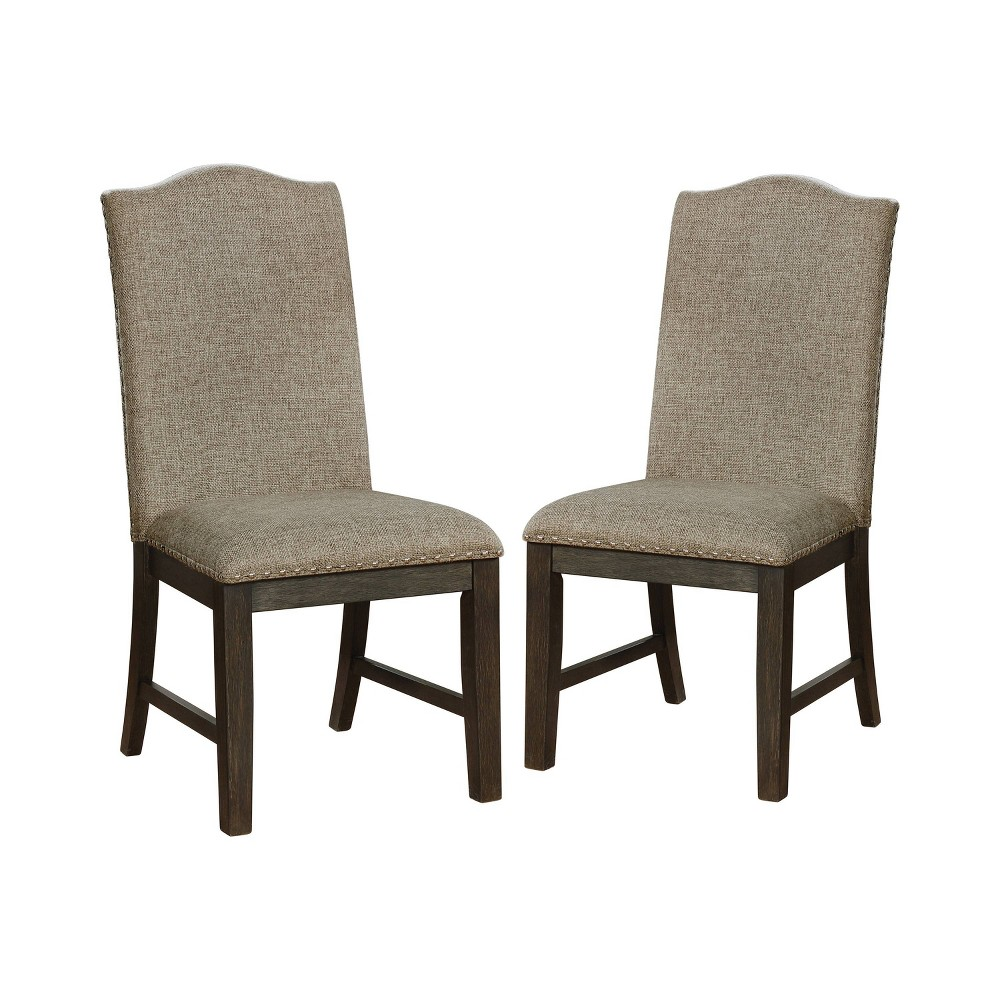 Set of 2 Lemieux Upholstered Dining Chairs Espresso (Brown) - Sun & Pine