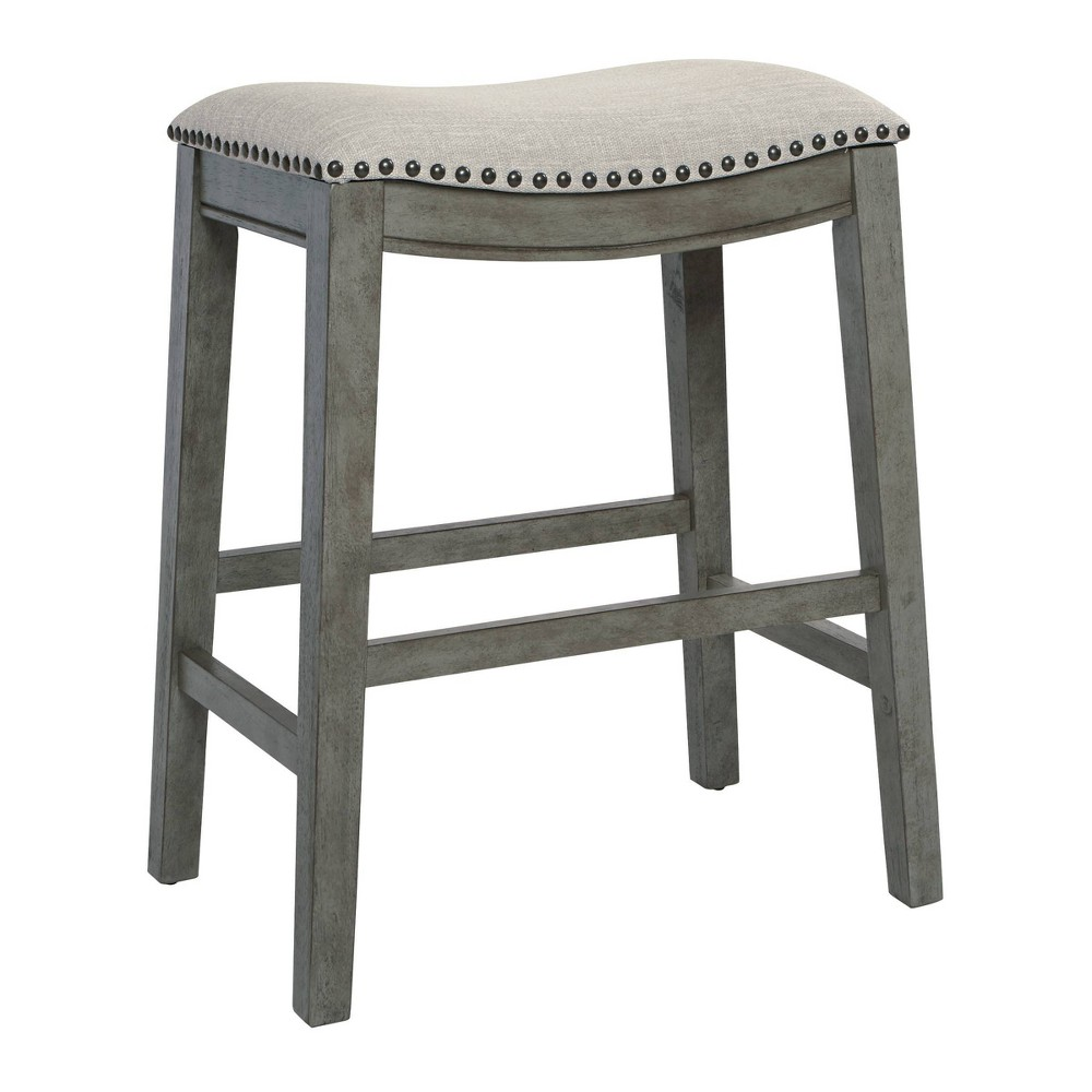 "Image of ""24"""" Saddle Stool Gray - OSP Home Furnishings"""