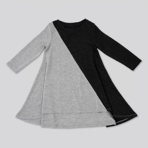 Toddler Girls' Afton Street Long Sleeve French Terry Asym A Line Dress - Charcoal Heather - image 1 of 2