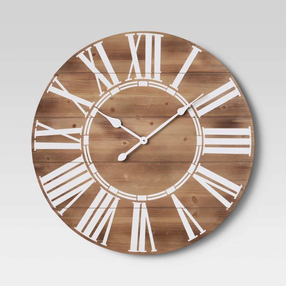 "Image of ""34"""" Wood Roman Numerals Clock Brown - Threshold"""