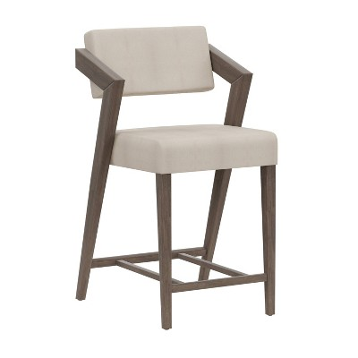 """Snyder 26"""" NonSwivel Counter Height Barstool Aged Gray/Ecru - Hillsdale Furniture"""